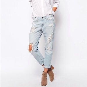 A&F Destroyed Light Wash Ripped Girlfriend Jeans
